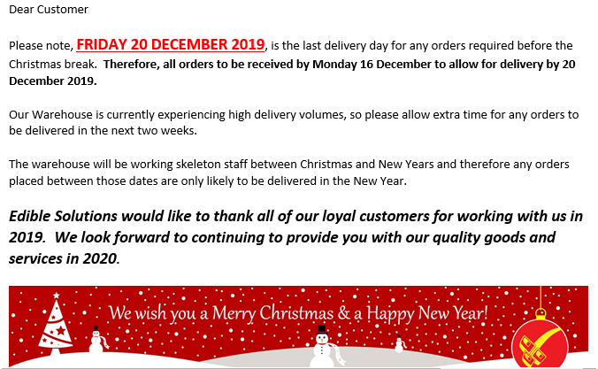 Christmas Order & Delivery Dates